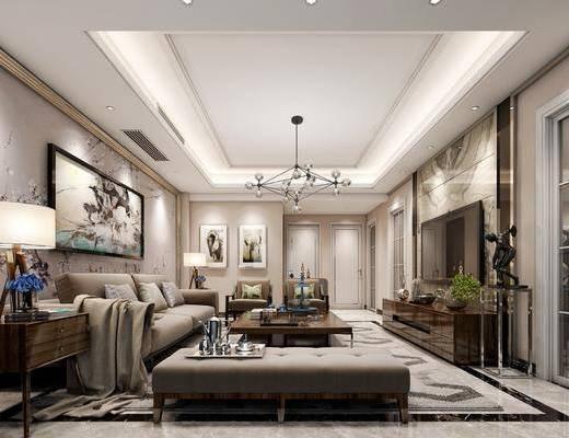 客厅, 多人沙发, 茶几, 躺椅, 单人沙发, 边几, 台灯, 装饰画, 挂画, 电视柜, 装饰柜, 边柜, 吊灯, 摆件, 装饰品, 陈设品, 现代