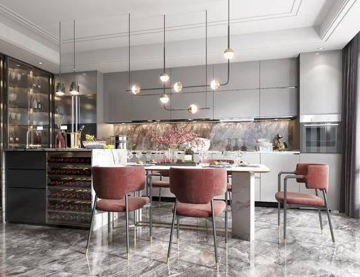 餐桌, 餐椅, 洗手台, 酒柜, 橱柜, 厨具, 吊灯, 装饰品