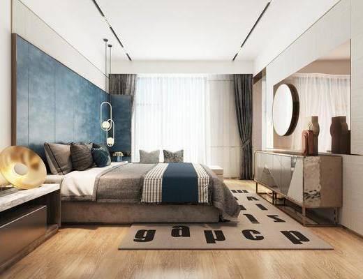 双人床, 装饰画, 边柜, 墙饰, 吊灯, 床头柜