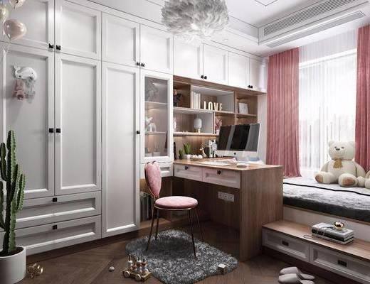 书房, 桌椅组合, 榻榻米, 装饰柜组合, 摆件组合, 书籍, 玩偶组合, 北欧