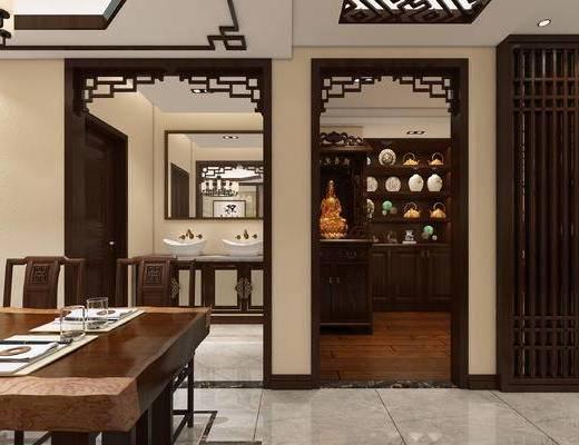 新中式, 客厅, 餐厅, 佛龛