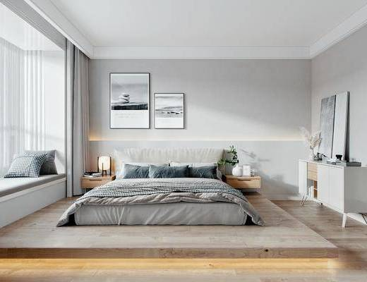 边柜, 双人床, 床具组合, 床头柜, 台灯