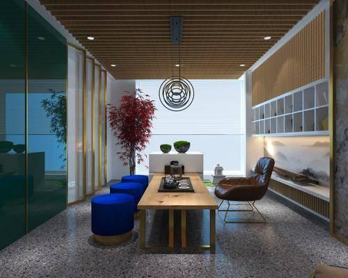 工作室, 办公室, 茶桌, 单人椅, 多人沙发, 休闲椅, 吊灯, 书柜, 装饰柜, 绿植植物, 现代