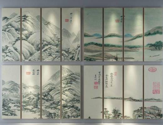风景画, 装饰画, 挂画, 组合画, 新中式
