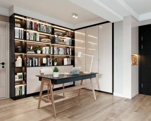 书桌, 书房, 书架, 书籍, 摆件组合, 台灯