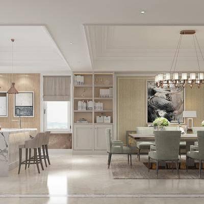 美式客厅, 客餐厅, 沙发组合, 沙发茶几组合, 电视墙, 餐桌椅, 桌椅组合, 吊灯, 美式, 现代
