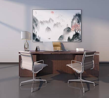 新中式办公桌, 新中式办公椅, 新中式挂画