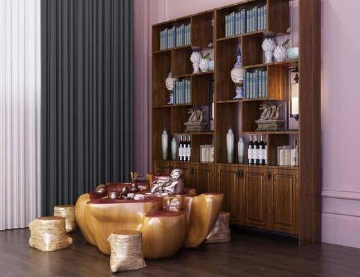 茶室, 茶桌, 凳子, 装饰柜, 书柜, 书籍, 摆件, 装饰品, 陈设品, 中式