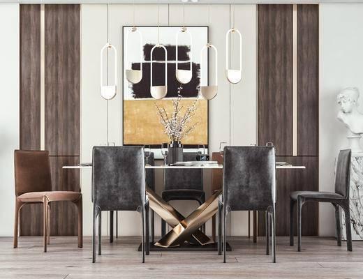 餐桌椅, 吊灯, 雕塑, 挂画, 摆件
