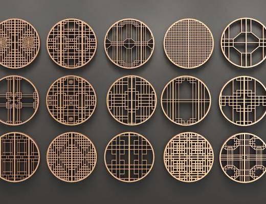 圆形, 线条, 花格, 窗, 镂空, 新中式花格窗, 金属, 新中式, 双十一