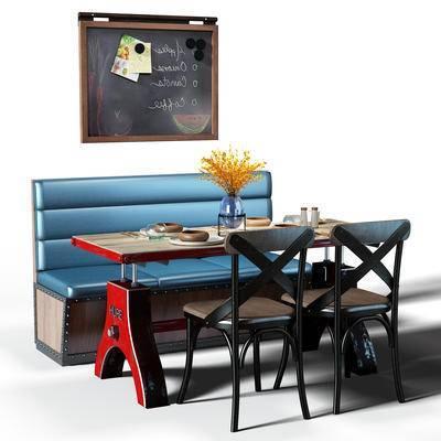 餐桌, 桌椅, 桌椅组合, 餐桌椅组合, 黑板, 盆景, 植物, 工业风, 花瓶