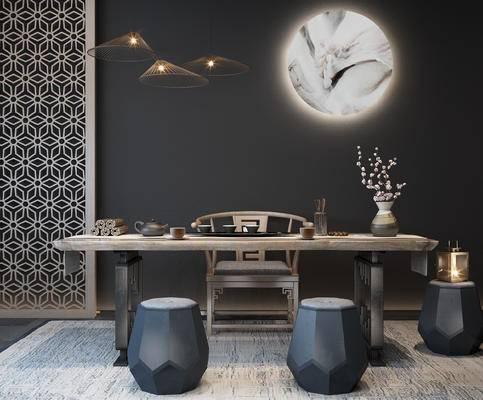 新中式, 茶桌, 椅子, 凳子, 墙饰, 茶具, 摆件, 装饰品, 陈设品, 花瓶