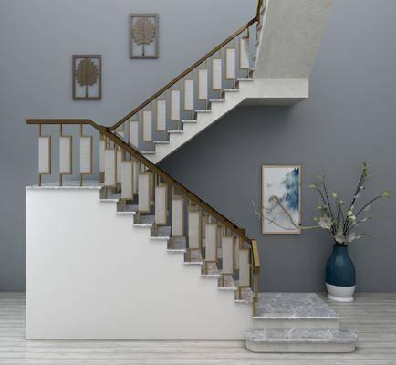 新中式楼梯组合, 楼梯, 盆栽, 挂画, 新中式