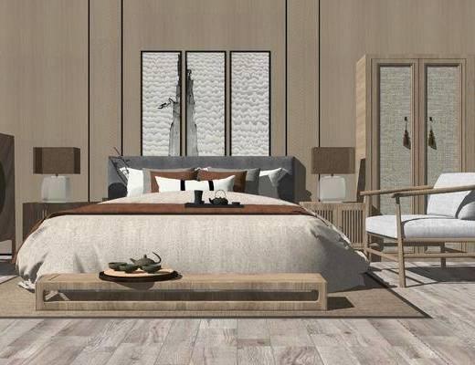 双人床, 单椅, 衣柜, 床头柜, 背景墙