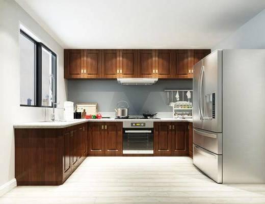 橱柜, 摆件, 厨具, 冰箱, 现代橱柜, 烤箱, 洗碗机, 烟灶消, 现代