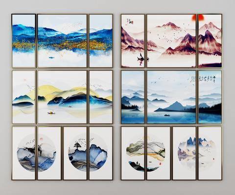 水墨山水画, 挂件, 风景画, 装饰画, 挂画组合, 新中式
