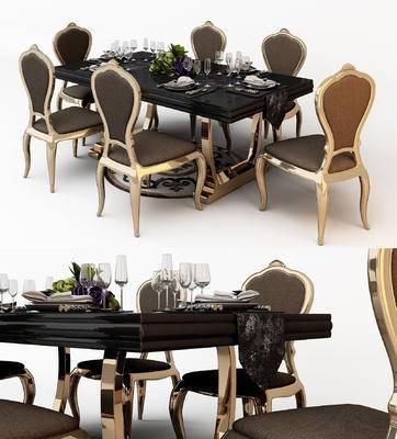欧式, 餐桌椅, 餐具