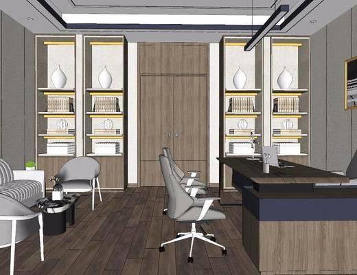 办公室, 办公桌, 置物柜, 吊灯