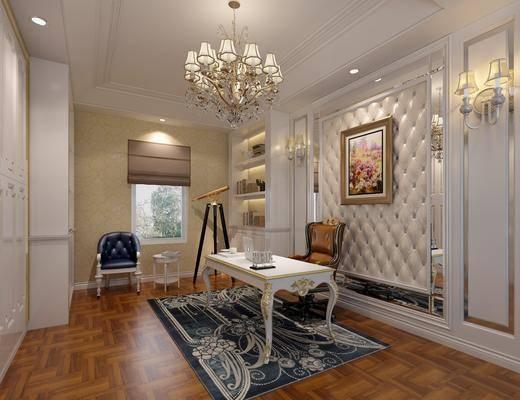 书房, 书桌, 单人椅, 壁灯, 书柜, 边几, 植物画, 书籍, 电脑, 欧式