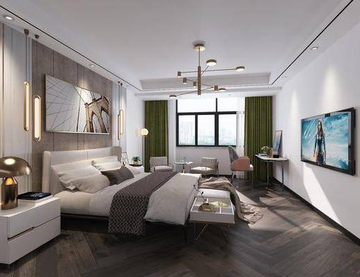 现代, 卧室, 双人床, 床尾凳, 边柜, 台灯, 吊灯, 落地灯, 椅子, 桌子