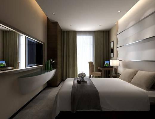 单人床, 床头柜, 背景墙, 书桌, 桌椅组合