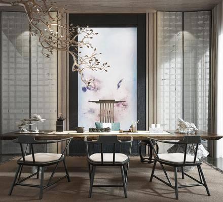 茶室, 新中式茶室, 茶具, 桌椅组合