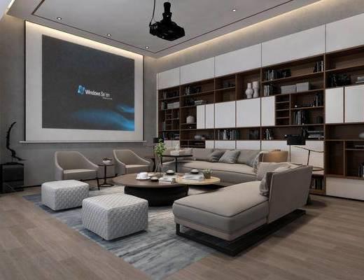 会客厅, 休闲区, 客厅, 沙发, 投影屏, 书柜, 装饰柜, 茶几, 现代客厅