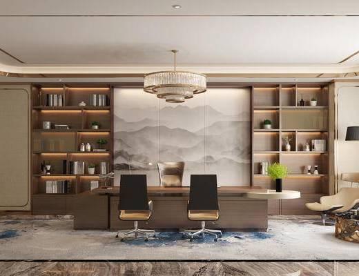 办公室, 经理室, 后现代, 吊灯, 书柜, 置物柜