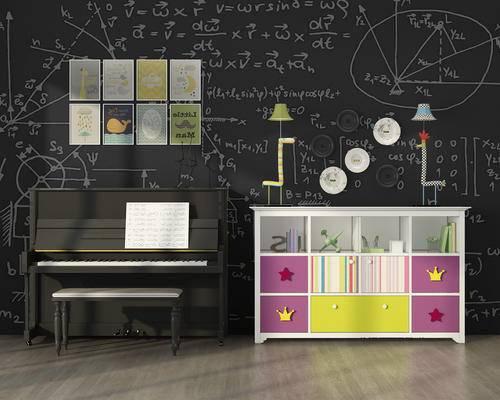 钢琴, 乐器, 边柜, 挂画, 摆件