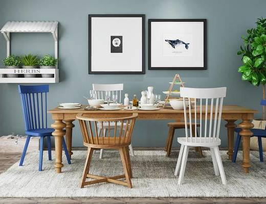 北欧简约, 桌椅组合, 餐桌椅组合, 餐具组合, 植物盆栽, 北欧