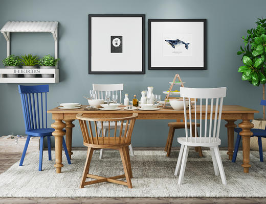 北欧简约, 桌椅组合, 餐桌椅组合, 餐具组合, 植物盆栽