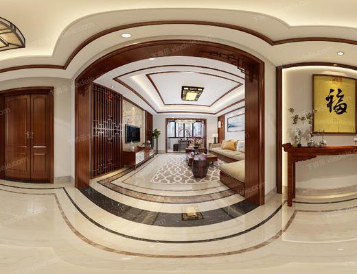 客餐厅, 客厅, 餐厅, 沙发组合, 中式沙发, 沙发茶几组合