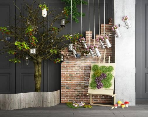 景观园林, 植物, 吊灯, 画板