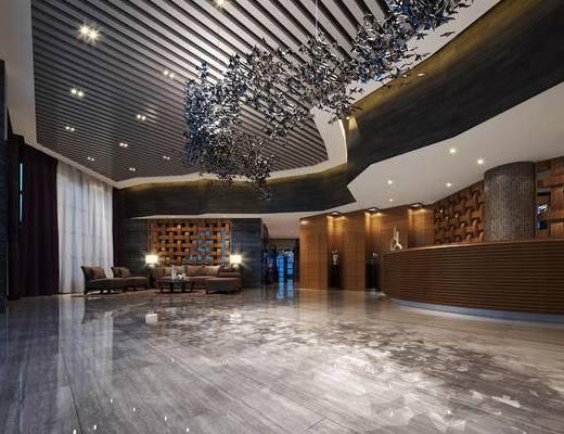 现代, 前厅, 前台, 灯具, 沙发组合