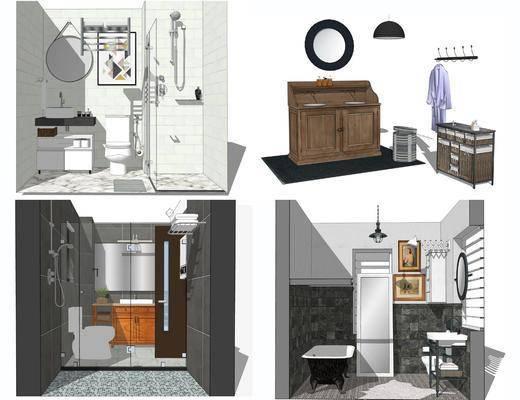 洗手盆, 壁镜, 马桶, 吊灯