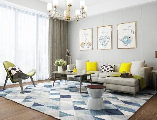沙发, 沙发组合, 茶几, 装饰画, 吊灯, 现代