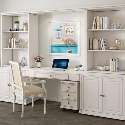 书桌, 单椅, 椅子, 书柜, 置物架, 摆件, 书籍, 书本, 装饰品, 美式