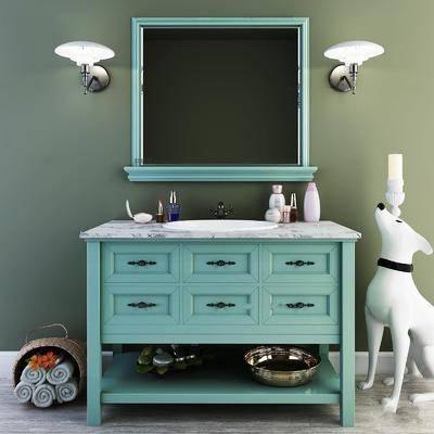 卫浴组合, 洗手盆, 镜子, 柜架组合