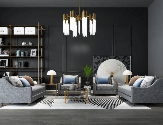 沙发组合, 沙发茶几组合, 吊灯, 装饰柜, 陈设品, 置物柜