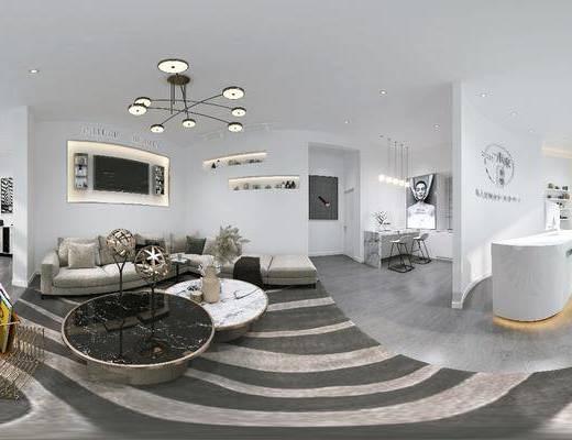 吊灯, 服务台, 转角布艺沙发, 摆件, 皮肤管理中心