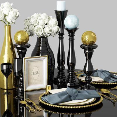 摆件组合, 现代摆件组合, 现代轻奢, 瓷器, 花瓶花卉, 现代
