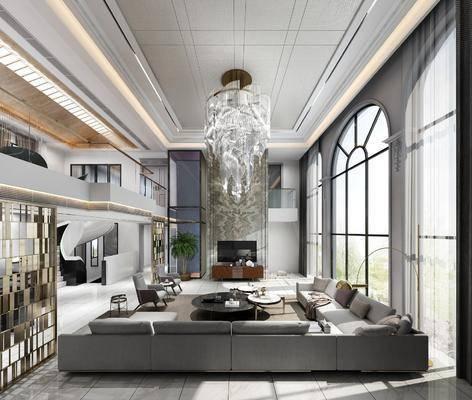 中空別墅, 客廳, 沙發組合, 沙發茶幾組合, 吊燈組合, 邊幾組合, 擺件組合, 裝飾柜組合, 吧臺椅組合, 現代