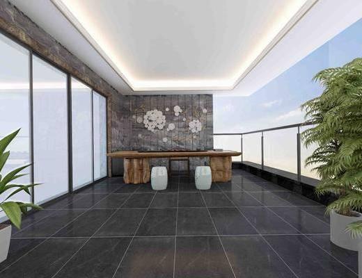阳台, 桌子, 凳子, 单人椅, 墙饰, 盆栽, 中式