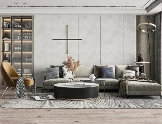 现代客厅, 多人沙发, 转角沙发, 墙饰, 落地灯