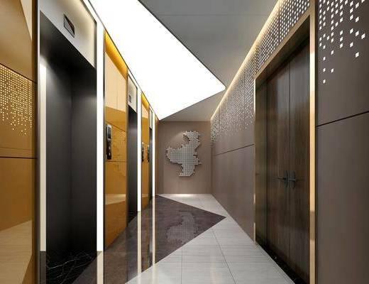 电梯间, 楼梯间, 走廊过道, 墙饰, 后现代