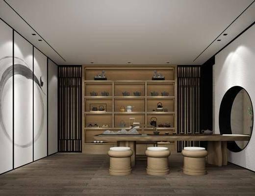 茶室, 茶桌, 凳子, 茶具, 摆件, 装饰品, 陈设品, 装饰柜, 装饰画, 挂画, 新中式