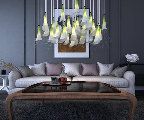 现代, 多人沙发, 灯具