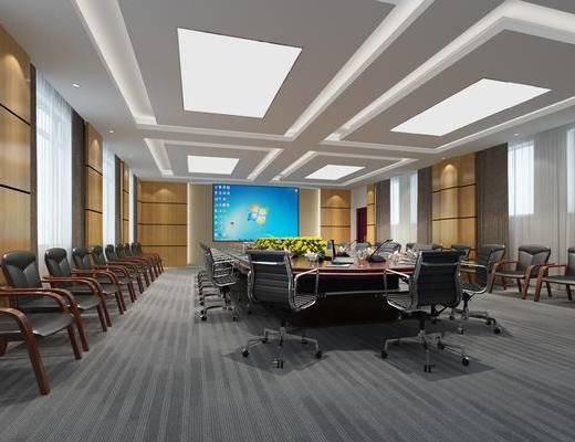 会议室, 会议桌, 现代, 办公椅, 椅子, 投影布