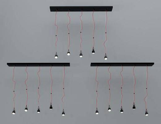 金属吊灯, 灯泡吊灯, 筒灯吊灯, 工业风