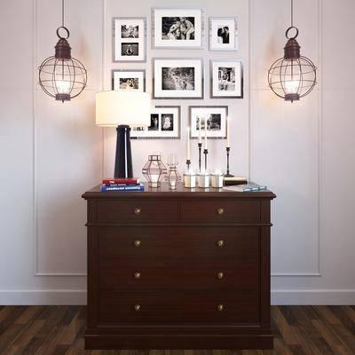 摆件组合, 储物柜, 边柜, 挂画, 吊灯, 装饰灯, 蜡烛台, 摆件, 现代